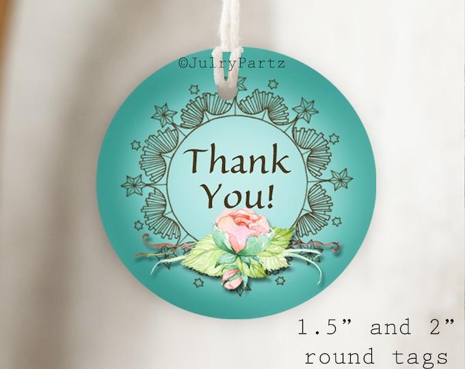DIY FLORAL #1•Thank You Tags•Printable Tags•Digital Tags•Favor Tags