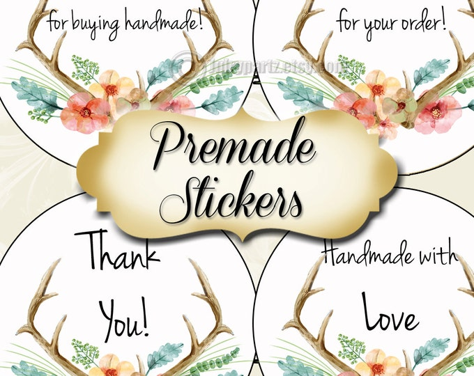 PREMADE•60 Custom 1.5 x 1.5 Round STICKERS•Labels•Tags•Package Labels•Custom Stickers•Custom Labels•WOODLAND Love Series