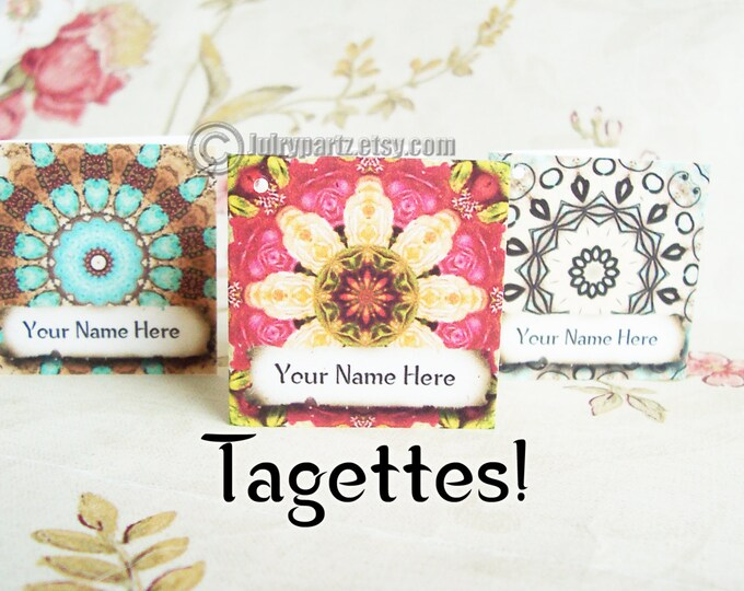 60•TAGETTES•Morocco Mix•Mini Tags•Hang Tags•Gift Tags•Shower Favor Tags•Favor Tags•Price Tags•Clothing Tags,