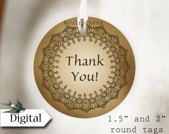 DIY HENNA #7•Thank You Tags•Printable Tags•Digital Tags•Favor Tags