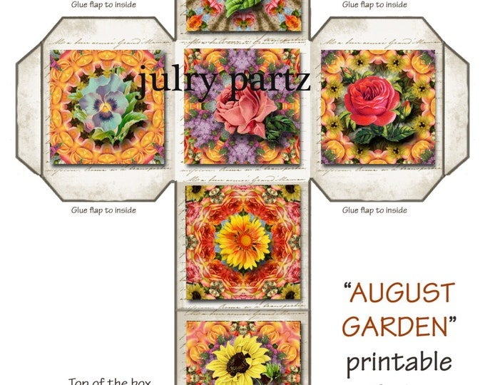 SALE Gift Box, AUGUST GARDEN ,Mandalas, Gift Box Pattern, Printable Digital Images, Gift Box, wedding favor box, favor box