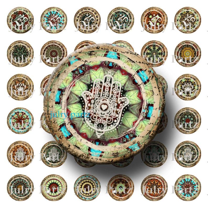 Marrakech OM Cards Scrabble Tiles Yoga Lotus Gift Tags Meditation Reiki and Hamsa Symbol Mandalas 1x1 Round,Printable Digital Images
