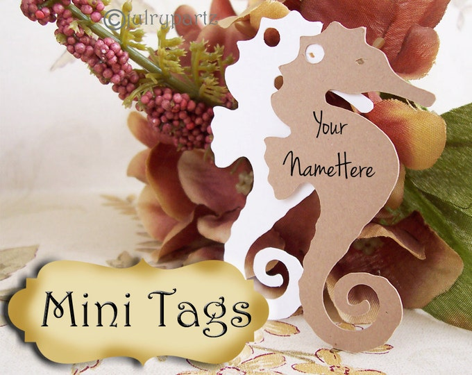 20•MINI TAGS #2 • 1.5 X 2.5 inch•Necklace Tags•Bracelet Tags•Price Tags•Clothing Tags•Favor Tags•Seahorse