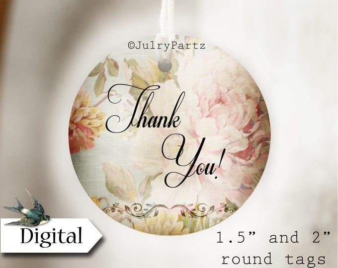 DIY SHABBY CHIC #11•Thank You Tags•Printable Tags•Digital Tags•Favor Tags