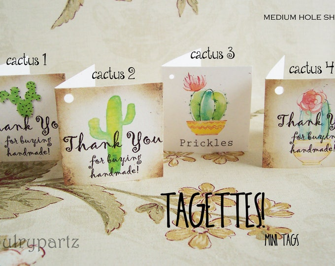 60-TAGETTES•CACTUS Mix•Mini Tags•Hang tags•Gift Tags•Favor Tags•Paper Tags•Price Tags•Clothing Tags