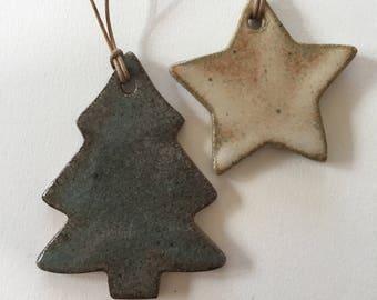 Pine Tree & Star Set of Ceramic Ornaments
