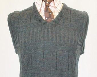 93fe89de5e8d5 L Vintage 80s Mens Tank Top Sleeveless Sweater Blue Aztec Retro Vest C529