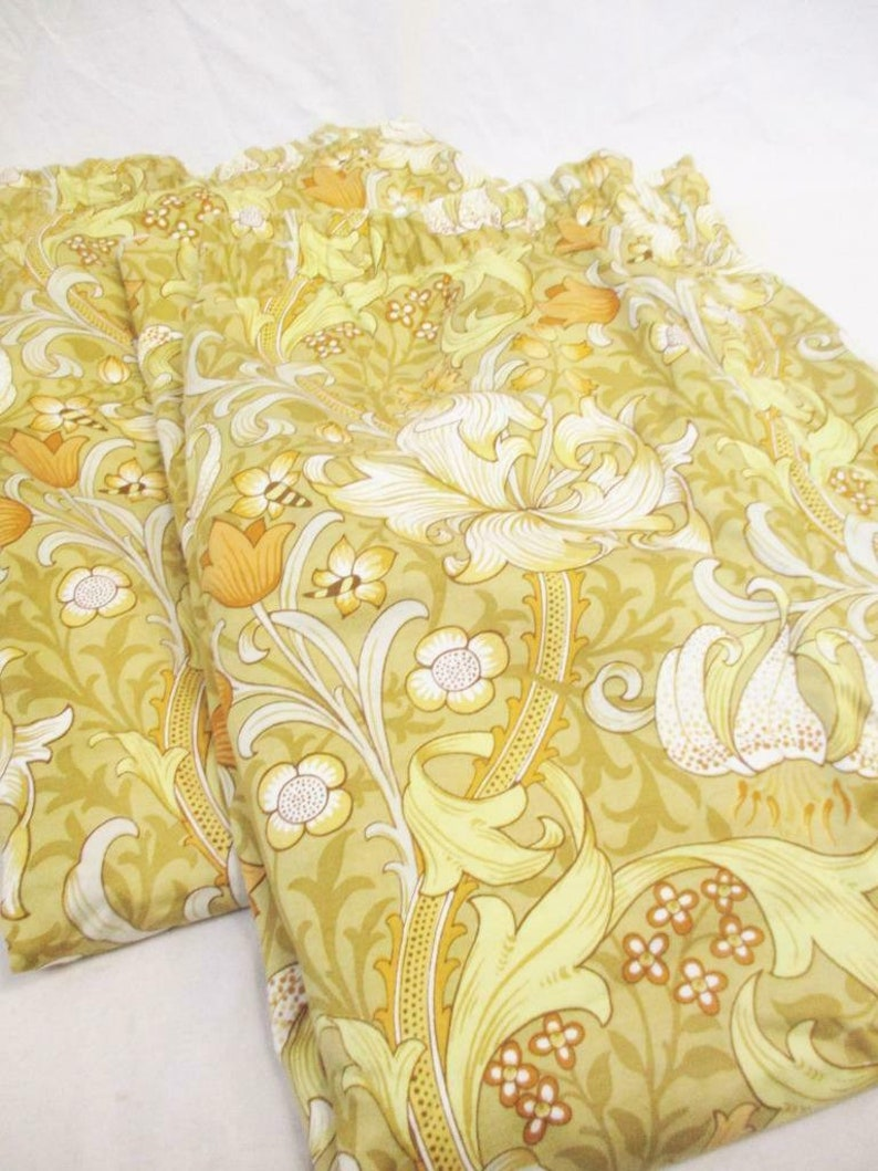 PAIR Vintage Sanderson Golden Lily Floral Lined Curtains Mid Century Retro Home