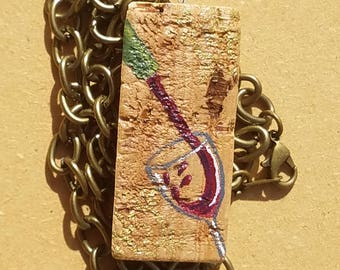 Painted Wine Cork Necklace