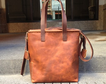 a96904ecd1 Cognac leather tote with zipper