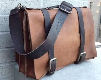 Triple Gusset Crossbody / Handmade Leather Briefcase USA / Triple Gusset Briefcase / Large Leather Briefcase