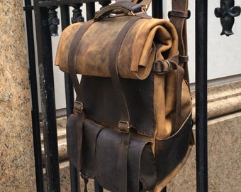 Burgundy Leather backpack drawstring backpack leather suede rucksack school bag Simple backpack Large convertible transformer chocolate