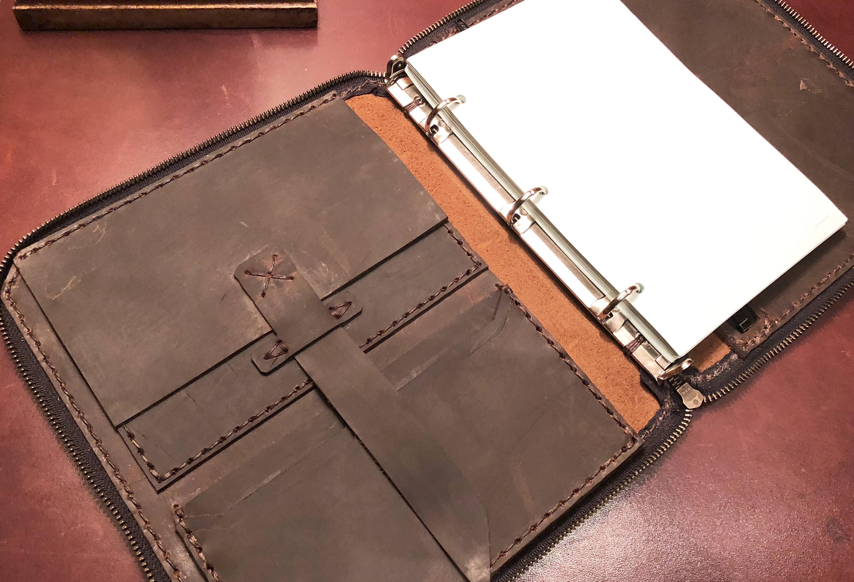 5f4e1bc3d6a4 Leather portfolio binder, Zipperred leather folio, Portfolio ...