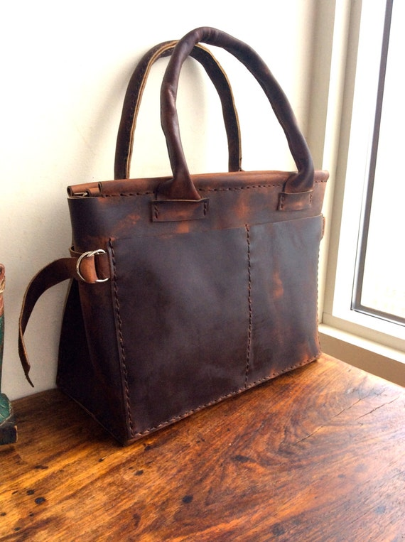 Computer tote Leather work bag Handmade leather tote   Etsy 96a17e17d6