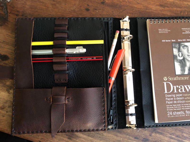 graphic about A5 Planner Binder titled A5 planner binder leather-based, 3 ring person organizer, Tiny binder - fifty percent dimensions, 3 ring planner, Mini pocket organizer, Custom made intended