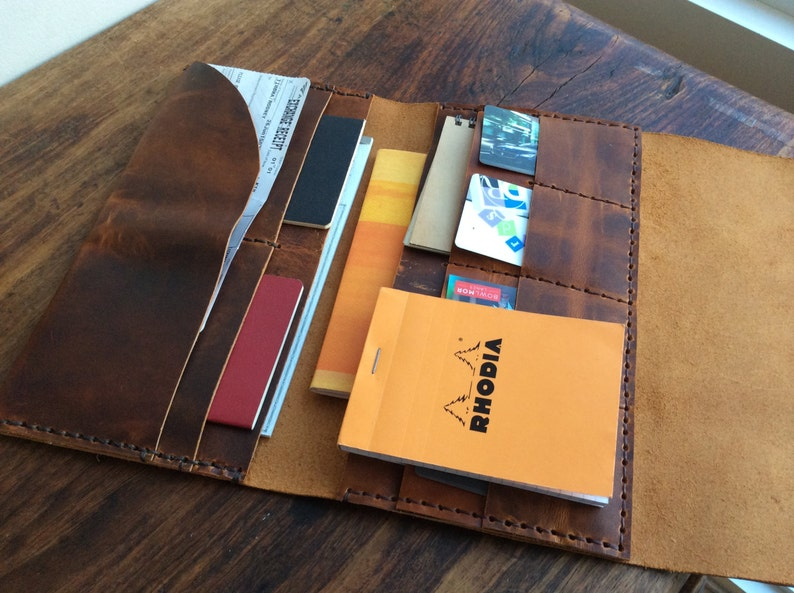 Handstitched womens leather wallets 11 pockets Handmade leather large trifold travel wallet boarding pass holder Leather document wallet