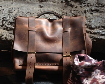 Rugged leather briefcase, Mens leather messenger bag, Leather briefcase for men, Work bag, Custom messenger bags, Laptop briefcase, Man bag