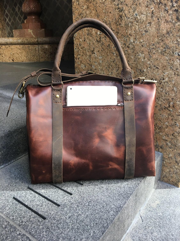 ea23fef77a4d Cognac Weekender Travel bags Leather duffle Small weekender