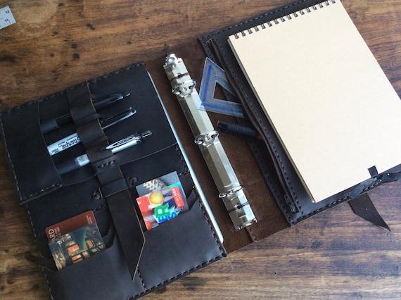 d823f88750de Zipper pocket binder / A5 / Three ring leather binder / 3 ring planner  notebook/ 5.5 x 8.5 notebook binder