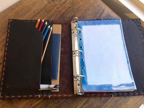 5 5 x 8 5 binder, Leather 3 ring binders, Small a5 planners and organizers,  Half page binder, A5 pad, Small three ring binder, 3 pockets