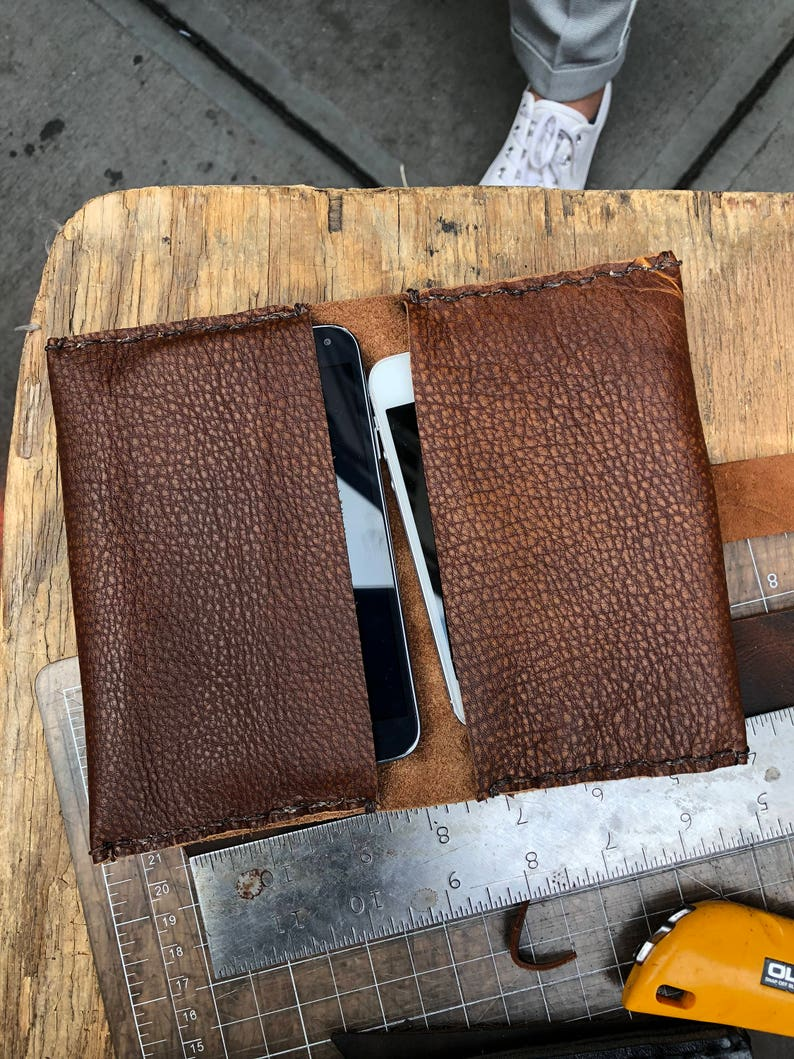 buy online 9231f 72055 Dual iPhone case, Two Phone clutch, Leather case, Double Phone Cover,  Custom Phone Covers, Handmade Leather Cell Phone Pouches and Cases