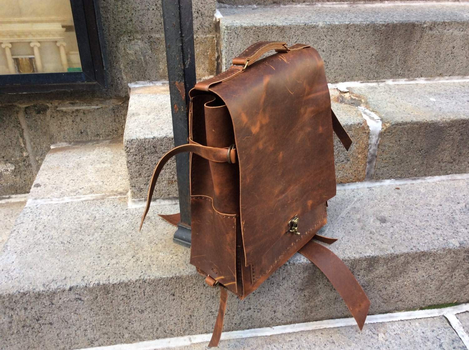 Custom backpacks, Mens leather weekender, Custom made rucksacks, Leather overnight bag, Weekend backpack, Handmade leather bag, Sewn by hand