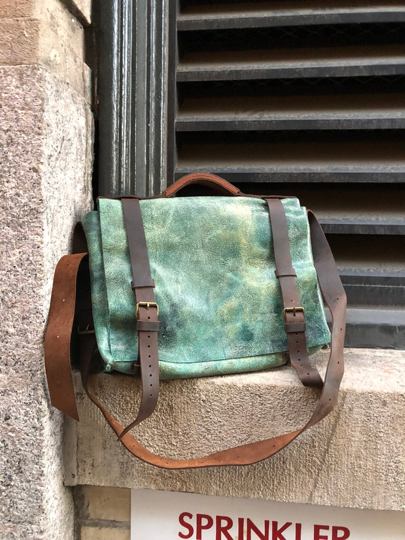 3752dffbcd Distressed messenger   Green leather satchel   Leather