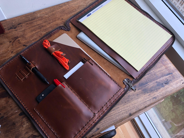 zipper portfolio leather    thin resume portfolio folder