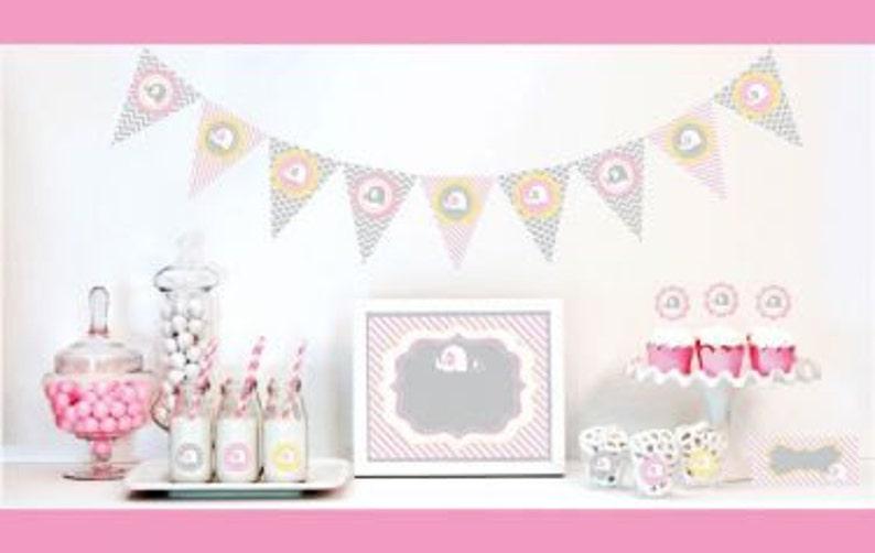 Pink Elephant Baby Shower Decor Kit Pink Baby Shower Shower Etsy