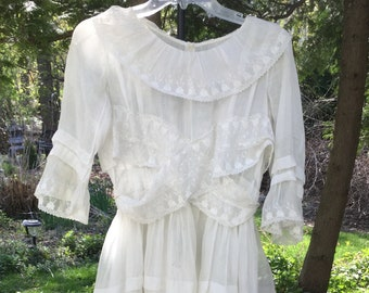 Confection of Edwardian Detail in White Cotton and Lace
