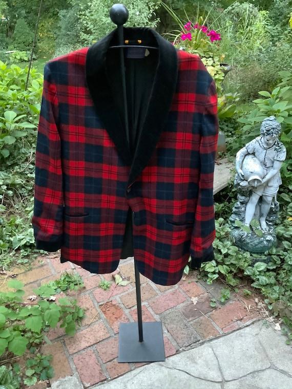 Dashing!  Pendleton red plaid smoking jacket
