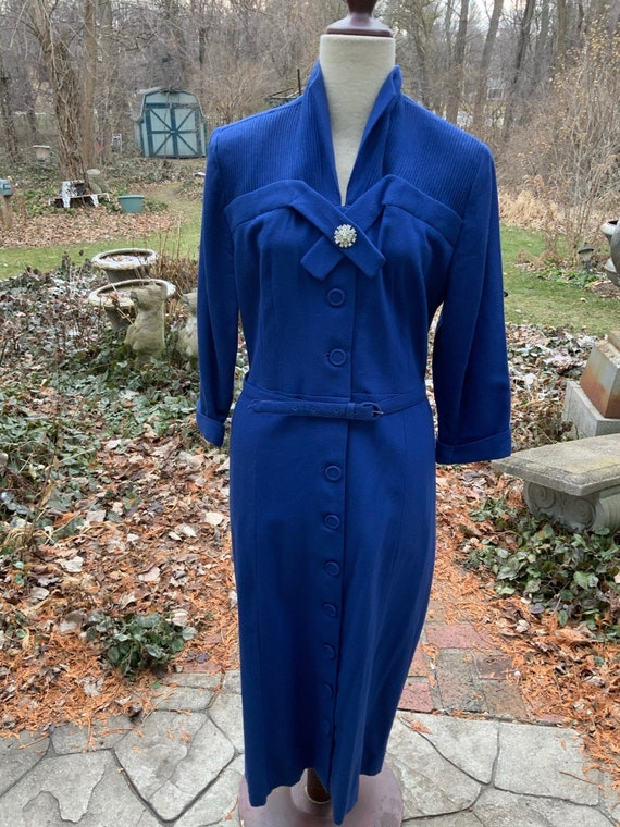 Royal blue wool dress is timeless