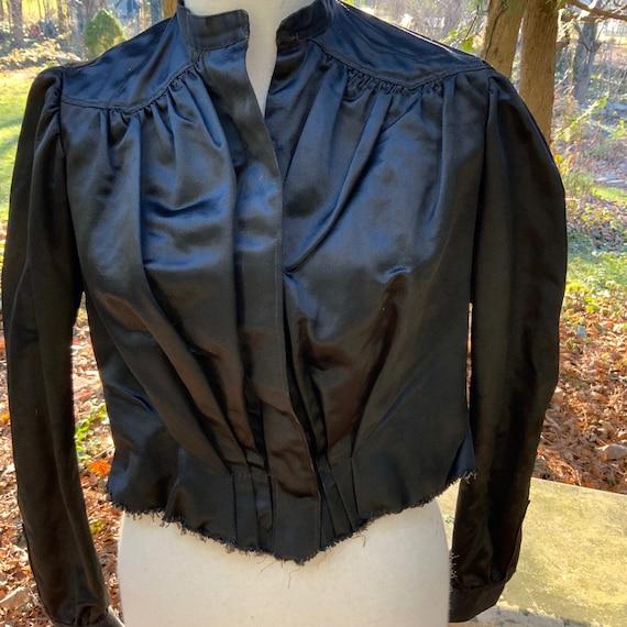 Black satin Victorian blouse