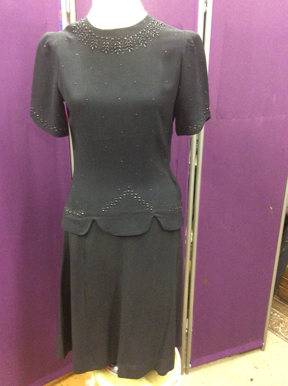 1940's Black Beaded  Two Piece Crepe Party Dress