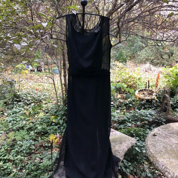 Black silk chiffon 1930s chemise starring bugle be