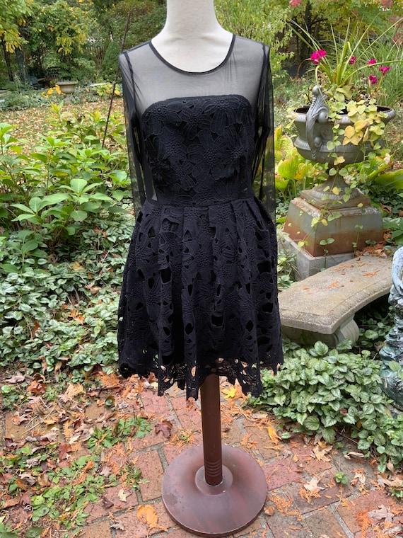 Black Sheer And Battenberg Lace Cocktail Dress