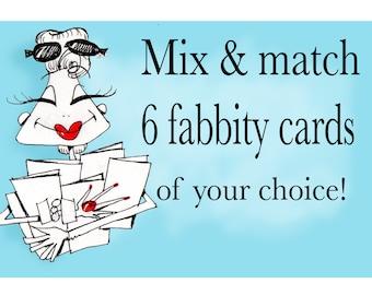 Greeting Card Set, Choose any 6 cards, Greeting Card Packs, Funny Greeting Card Sets, Funny Birthday Cards for Women, Funny WOmen Greetings