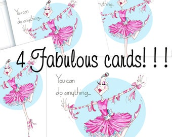 4 cards of your choice!  Friendship card, women to women humor, cards for friends, funny women cards, funny friendship, cards for friends