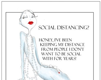 NEW!  Social Distancing Humor, Funny social distancing card,  birthday funny, Birthday cards for women, women humor cards, greeting cards