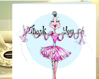 Cancer Thank You Cards, uplifting Cancer Card, Cancer humor, breast cancer card, funny women cards, funny friendship, cards for friends