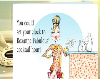 Funny Wine Cocktail Card for women, Funny Wine Card, Friendship Card Funny, Roxanne Fabulous, Funny Cards for women, Women Humor cards