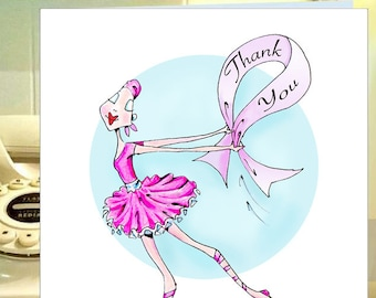 Cancer Thank You Cards, Breast Cancer Thank You Notes, Breast Cancer Thank You Note Cards, Think Pink Cancer Cards