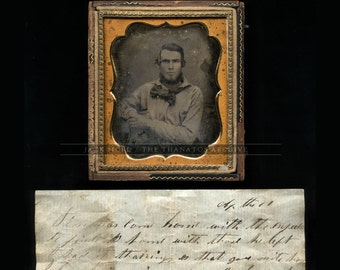 Amazing 1/6 Daguerreotype of a Handsome Gold Rush Miner / 49er - with Original Note!
