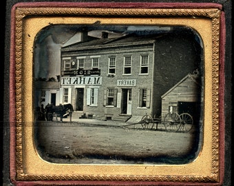 1850s outdoor dag photo storefronts - bakery sign + cigar & beer advertisements