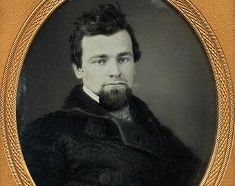 1850s Daguerreotype - Handsome Man in Large Fur Coat & Styled Hair