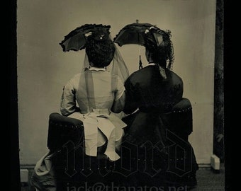 RESERVED  Do Not Buy // Tintype Women Holding Parasols Facing Away from Camera