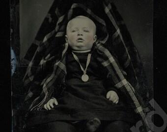Creepy Hidden FATHER Tintype Photo 1870s