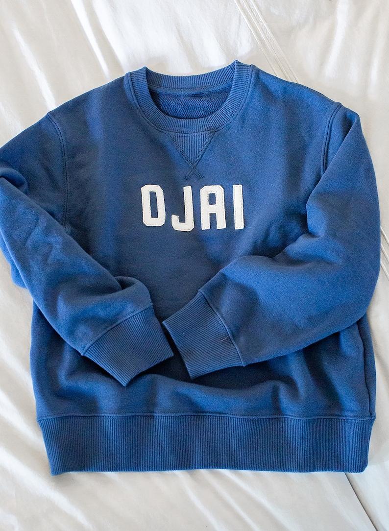 vintage sweatshirt kids toddler sweatshirt cool kids style Kids Ojai Sweatshirt; custom kids sweatshirt embroidered sweatshirt