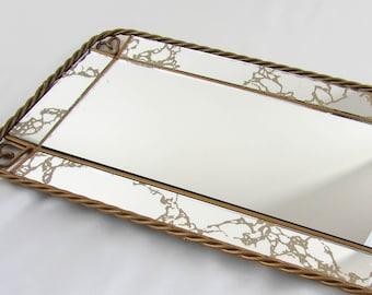 Vintage Vanity Mirror Tray - Wall Mirror - Braided Heart Metal Edging - 15 x 8