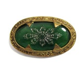 Antique Collar Pin Brooch - etched green glass brass - 1-5 8 quot